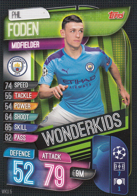 #WKU5 Phil Foden (Manchester City) Match Attax Champions League 2019/20 WONDERKIDS