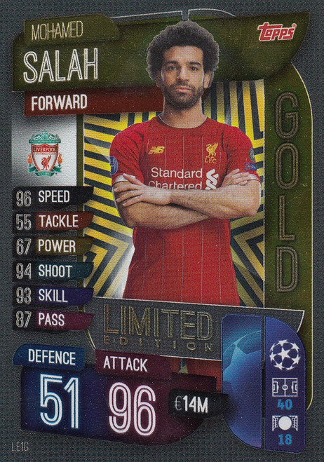 #LE1G Mohamed Salah (Liverpool) Match Attax Champions League 2019/20 GOLD LIMITED EDITION