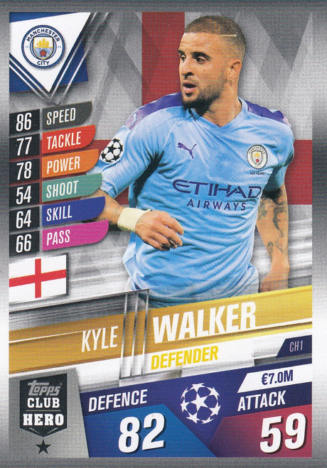 #CH1 Kyle Walker (Manchester City) Match Attax 101 2019/20 CLUB HEROES