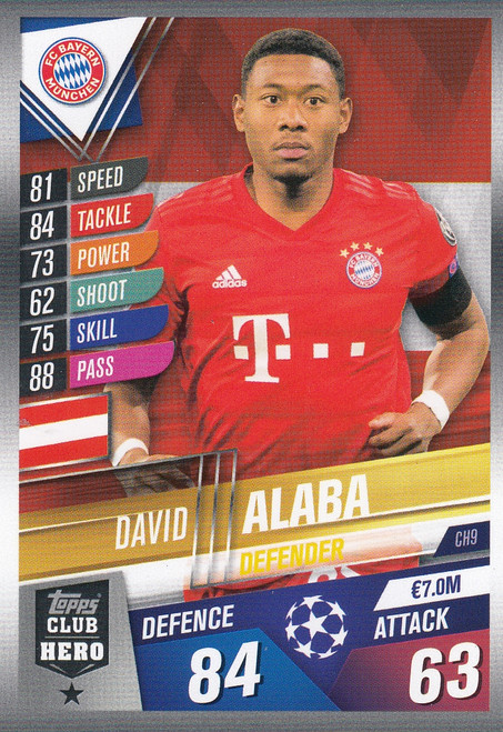 #CH9 David Alaba (FC Bayern Munchen) Match Attax 101 2019/20 CLUB HEROES