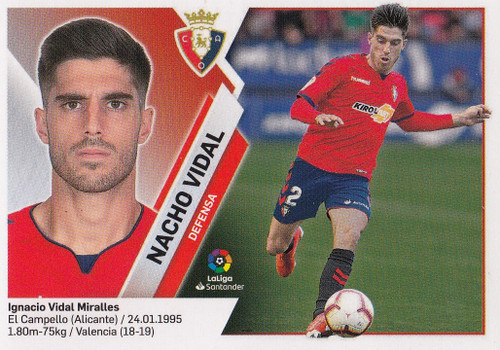 #3 Nacho Vidal (CA Osasuna) Coleccion Liga Este 2019-20