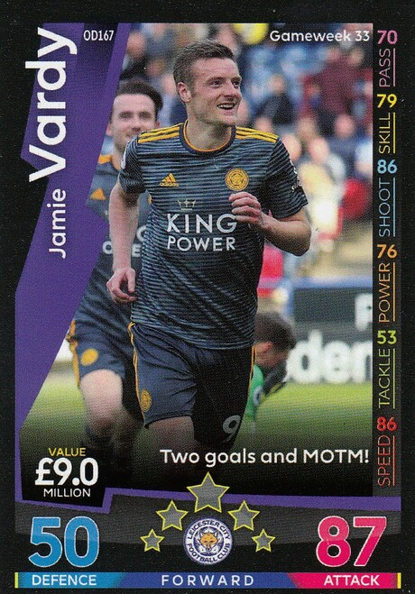 #OD167 Jamie Vardy (Leicester City) Match Attax Premier League 2018-19 ON DEMAND
