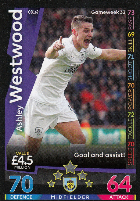 #OD169 Ashley Westwood (Burnley) Match Attax Premier League 2018-19 ON DEMAND