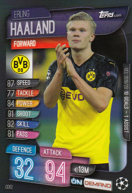 #OD62 Erling Haaland (Borussia Dortmund) Match Attax Champions League 2019-20 ON DEMAND