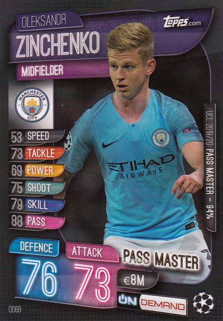 #OD68 Oleksandr Zinchenko (Manchester City) Match Attax Champions League 2019-20 ON DEMAND