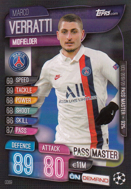 #OD69 Marco Verratti (Paris Saint-Germain) Match Attax Champions League 2019-20 ON DEMAND
