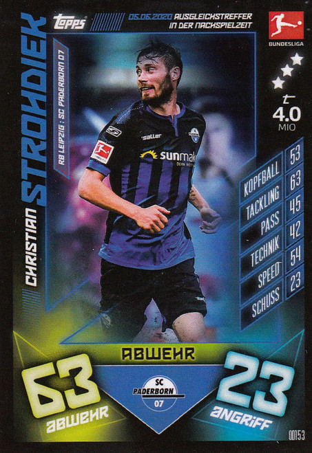 #OD153 Christian Strohdiek (SC Paderborn) Match Attax Bundesliga 2019-20 ON DEMAND