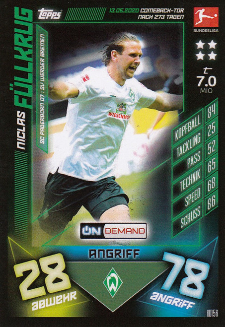 #OD156 Niclas Fullkrug (SV Werder Bremen) Match Attax Bundesliga 2019-20 ON DEMAND
