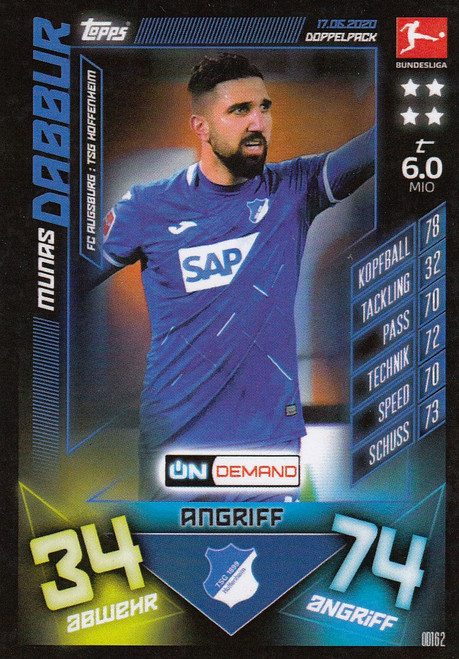#OD162 Munas Dabbur (TSG Hoffenheim) Match Attax Bundesliga 2019-20 ON DEMAND