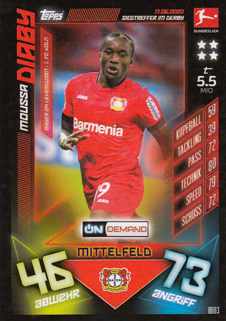 #OD163 Moussa Diaby (Bayer 04 Leverkusen) Match Attax Bundesliga 2019-20 ON DEMAND