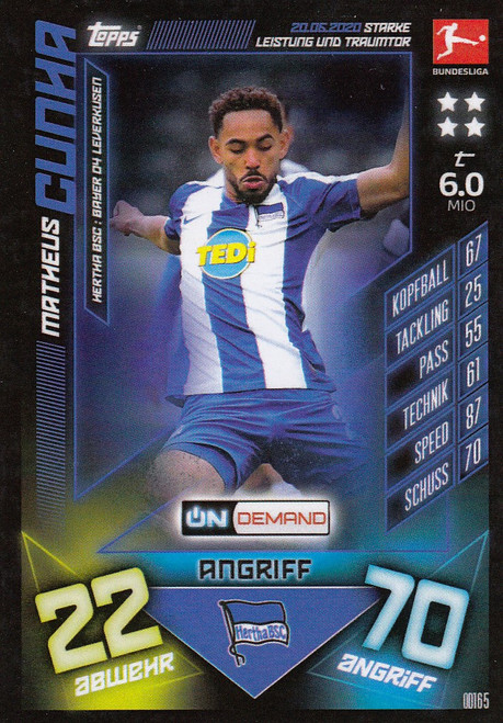 #OD165 Matheus Cunha (Hertha BSC) Match Attax Bundesliga 2019-20 ON DEMAND