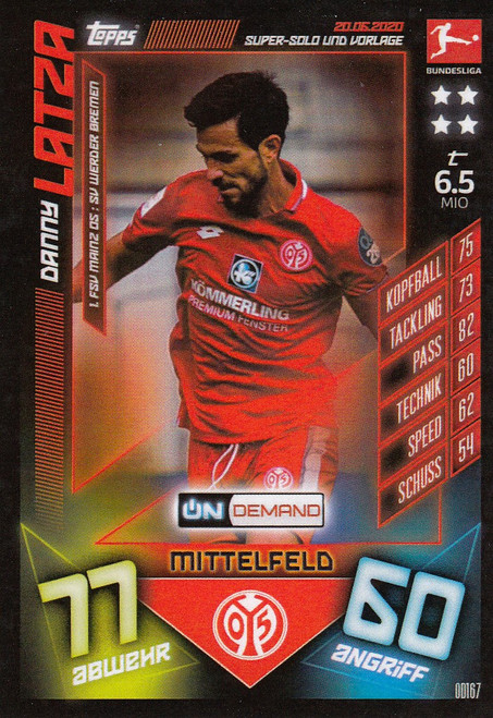 #OD167 Danny Latza (FSV Mainz) Match Attax Bundesliga 2019-20 ON DEMAND