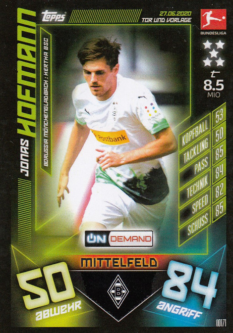 #OD171 Jonas Hofmann (Borussia Monchengladbach) Match Attax Bundesliga 2019-20 ON DEMAND