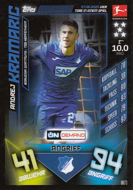 #OD173 Andrej Kramaric (TSG Hoffenheim) Match Attax Bundesliga 2019-20 ON DEMAND