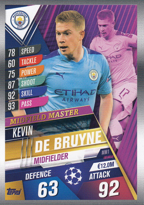 #MM1 Kevin De Bruyne (Manchester City) Match Attax 101 2019/20 MIDFIELD MASTER