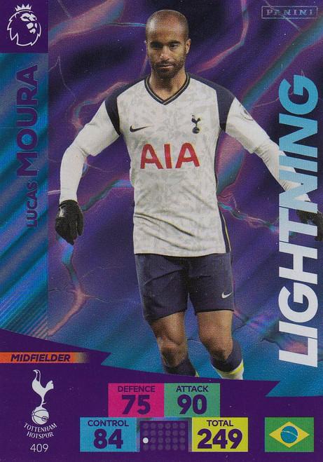 #409 Lucas Moura (Tottenham Hotspur) Adrenalyn XL Premier League 2020/21 LIGHTNING
