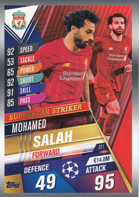 #SS1 Mohamed Salah (Liverpool FC) Match Attax 101 2019/20 SUPERSTAR STRIKER