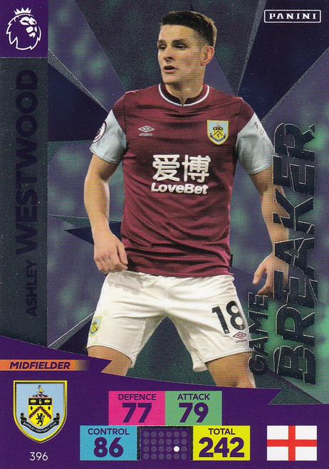 #396 Ashley Westwood (Burnley) Adrenalyn XL Premier League 2020/21 GAME BREAKER