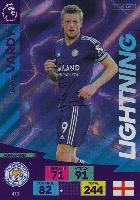 #411 Jamie Vardy (Leicester City) Adrenalyn XL Premier League 2020/21 LIGHTNING
