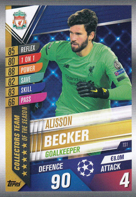 #TS1 Alisson Becker (Liverpool FC) Match Attax 101 2019/20 TEAM OF THE SEASON