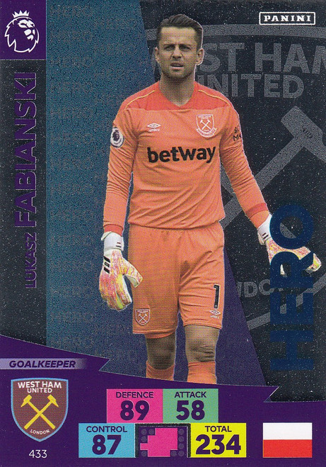 #433 Lukasz Fabianski (West Ham United) Adrenalyn XL Premier League 2020/21 HERO