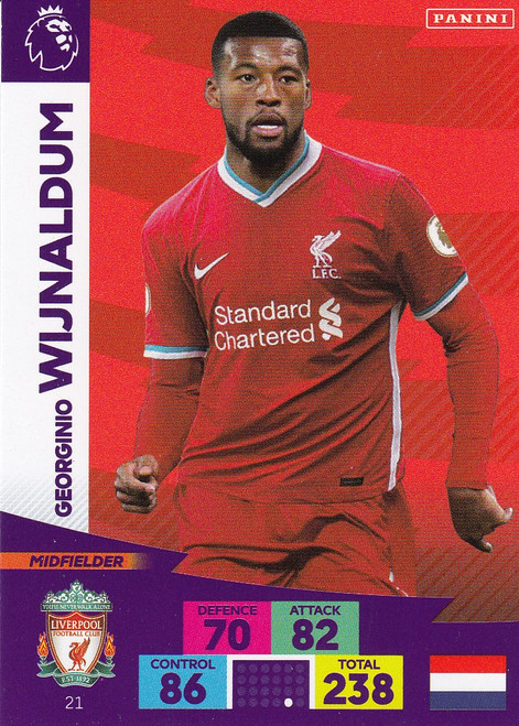 #21 Georginio Wijnaldum (Liverpool) Adrenalyn XL Premier League 2020/21