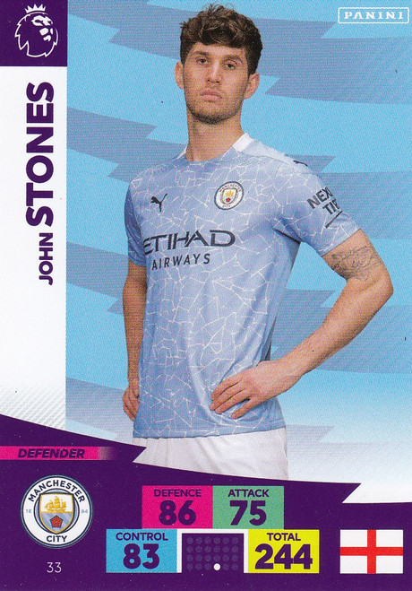 #33 John Stones (Manchester City) Adrenalyn XL Premier League 2020/21