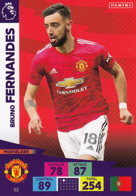 #52 Bruno Fernandes (Manchester United) Adrenalyn XL Premier League 2020/21