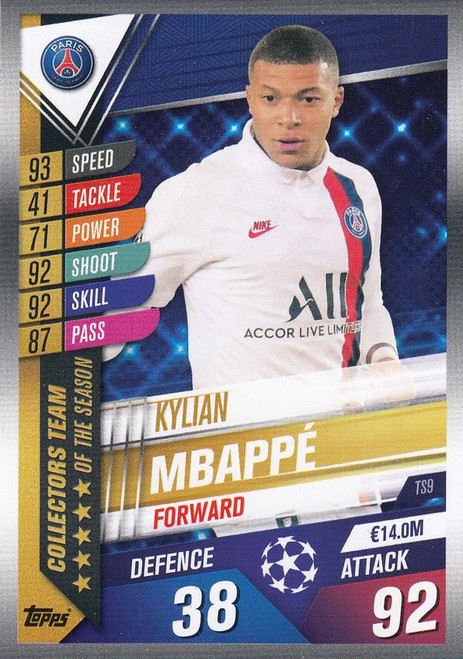 #TS9 Kylian Mbappe (Paris Saint-Germain) Match Attax 101 2019/20 TEAM OF THE SEASON