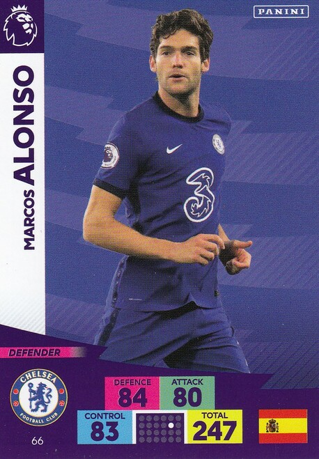 #66 Marcos Alonso (Chelsea) Adrenalyn XL Premier League 2020/21