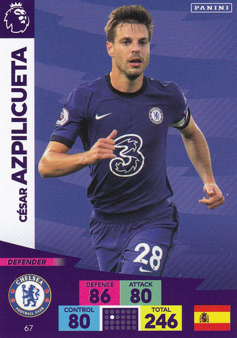 #67 Cesar Azpilicueta (Chelsea) Adrenalyn XL Premier League 2020/21