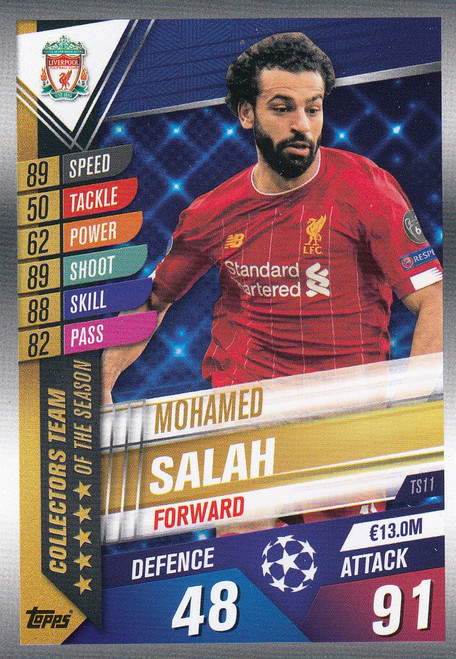 #TS11 Mohamed Salah (Liverpool FC) Match Attax 101 2019/20 TEAM OF THE SEASON