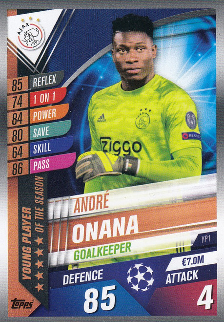 #YP1 Andre Onana (AFC Ajax) Match Attax 101 2019/20 YOUNG PLAYER OF THE SEASON