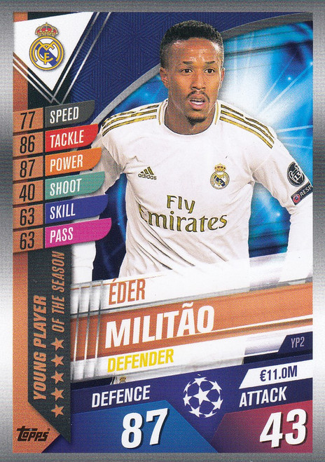 #YP2 Eder Militao (Real Madrid CF) Match Attax 101 2019/20 YOUNG PLAYER OF THE SEASON