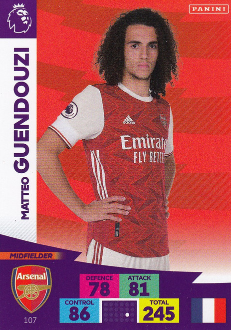 #107 Matteo Guendouzi (Arsenal) Adrenalyn XL Premier League 2020/21