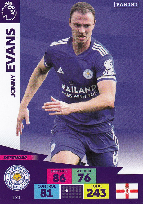 #121 Jonny Evans (Leicester City) Adrenalyn XL Premier League 2020/21