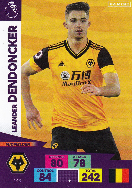 #143 Leander Dendoncker (Wolverhampton Wanderers) Adrenalyn XL Premier League 2020/21