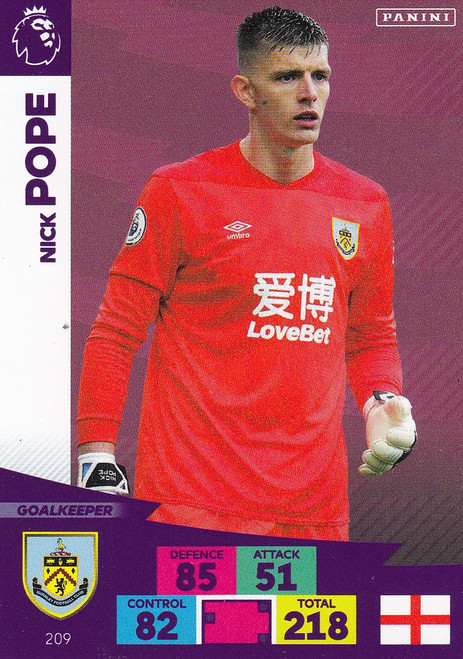 #209 Nick Pope (Burnley) Adrenalyn XL Premier League 2020/21