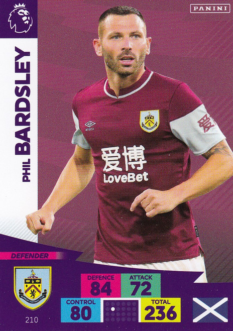 #210 Phil Bardsley (Burnley) Adrenalyn XL Premier League 2020/21