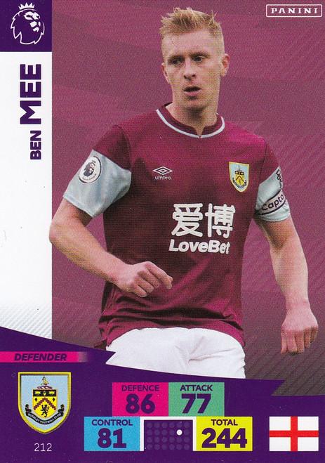 #212 Ben Mee (Burnley) Adrenalyn XL Premier League 2020/21