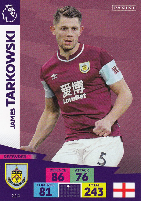 #214 James Tarkowski (Burnley) Adrenalyn XL Premier League 2020/21