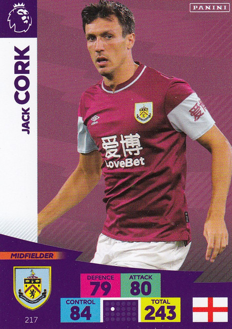 #217 Jack Cork (Burnley) Adrenalyn XL Premier League 2020/21