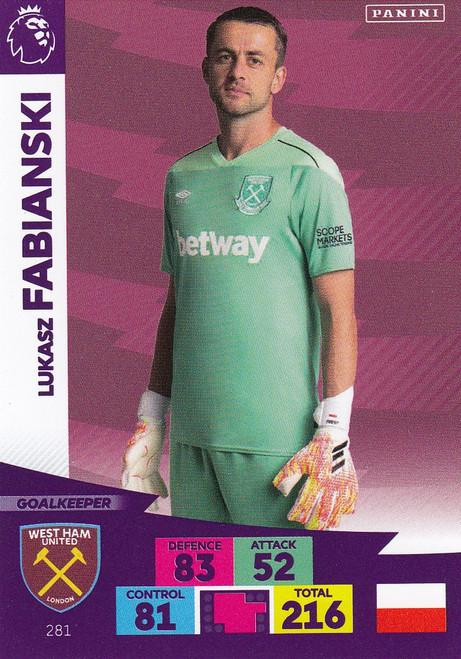 #281 Lukasz Fabianski (West Ham United) Adrenalyn XL Premier League 2020/21