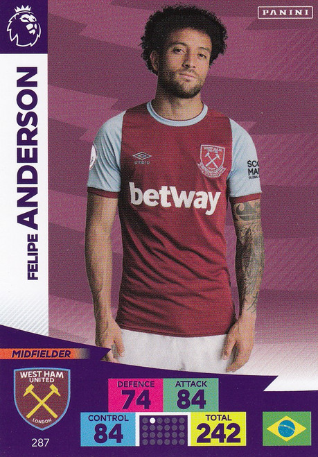 #287 Felipe Anderson (West Ham United) Adrenalyn XL Premier League 2020/21