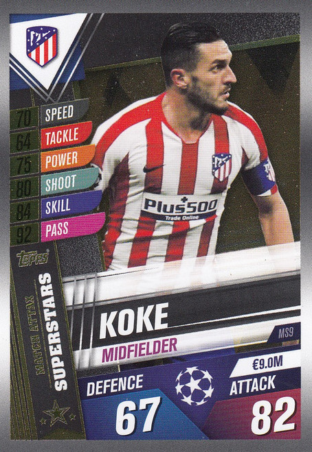 #MS9 Koke (Club Atletico De Madrid) Match Attax 101 2019/20 MATCH ATTAX SUPERSTARS