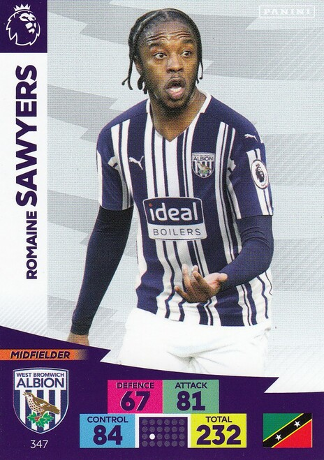 #347 Romaine Sawyers (West Bromwich Albion) Adrenalyn XL Premier League 2020/21