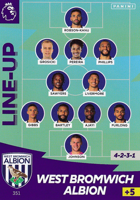 #351 Line Up (West Bromwich Albion) Adrenalyn XL Premier League 2020/21