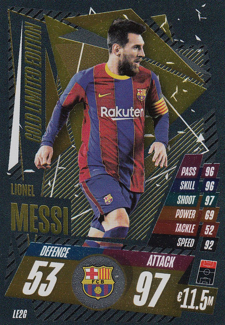 #LE2G Lionel Messi (FC Barcelona) Match Attax Champions League 2020/21 GOLD LIMITED EDITION