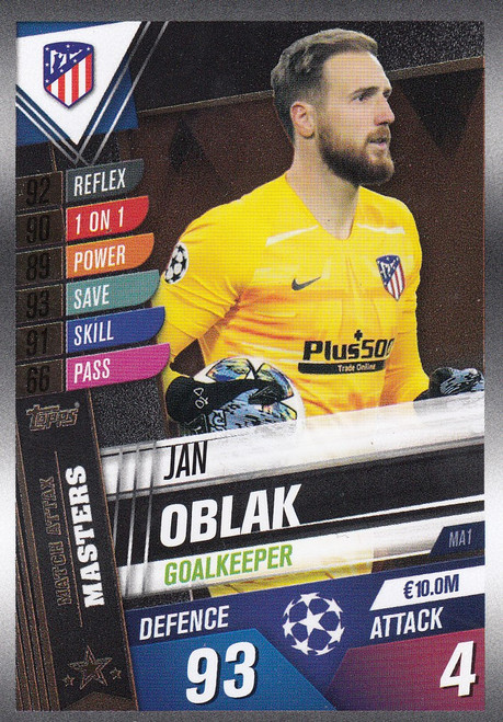 #MA1 Jan Oblak (Club Atletico De Madrid) Match Attax 101 2019/20 MATCH ATTAX MASTERS