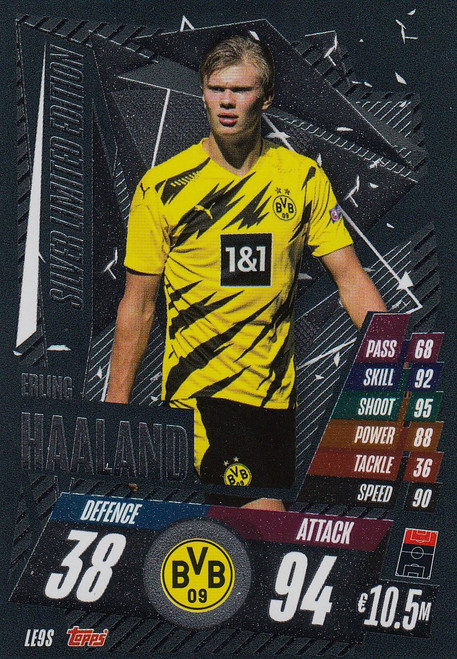 #LE9S Erling Braut Haaland (Borussia Dortmund) Match Attax Champions League 2020/21 SILVER LIMITED EDITION